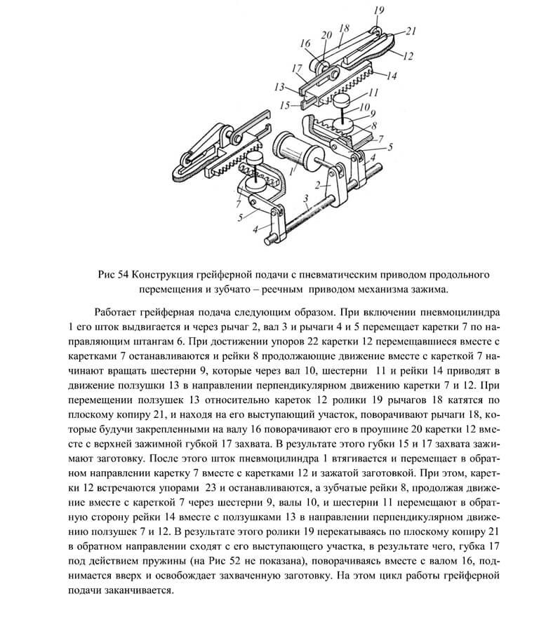 Конструкция грейферной подачи с пневматическим приводом